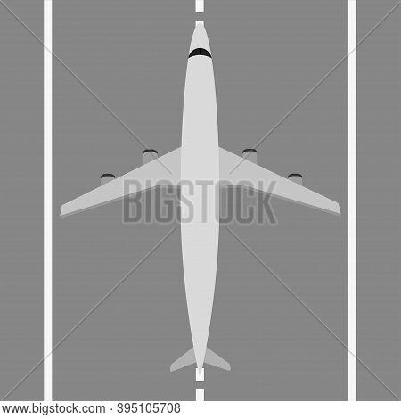 Flat Airplane Icon. Plane On Runway . Grey Airplane On Runway , Vector Illustration .