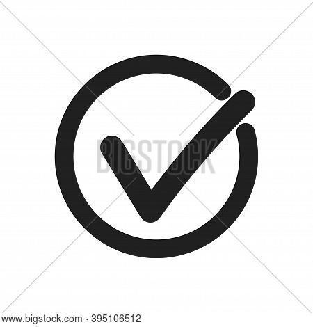 Checkmark Icon . Black Check Mark On Whote Background . Chekmark In Circle . Checkmark In Flat Style