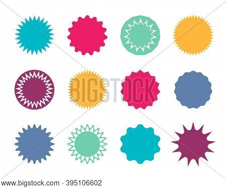Starburst Badge. Circle Stickers With Jagged Edges. Round Shapes For Price And Promo. Blank Pricetag