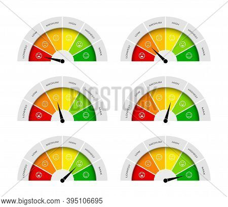 Meter Of Satisfaction. Credit Score Of Client. Gauge Of Feedback Of Customer. Dial With Emotion On F