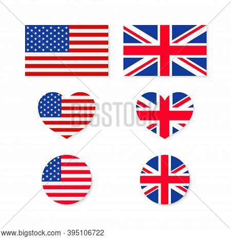 Uk And Usa Flags. Us-british Union. Icon For American, English. Heart With America And England. Unio