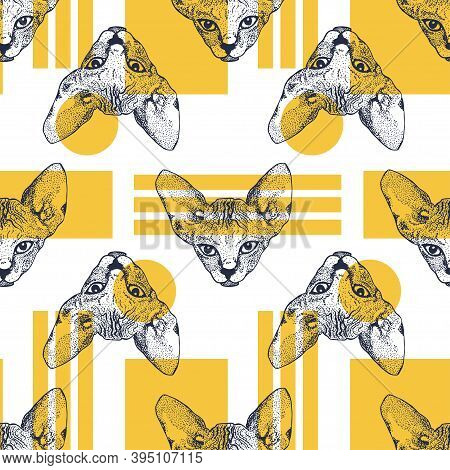 Heads Sphinx Kittens Seamless Pattern With Yellow Geometric Shapes. The Cat Is Spotty. Prints For Cl