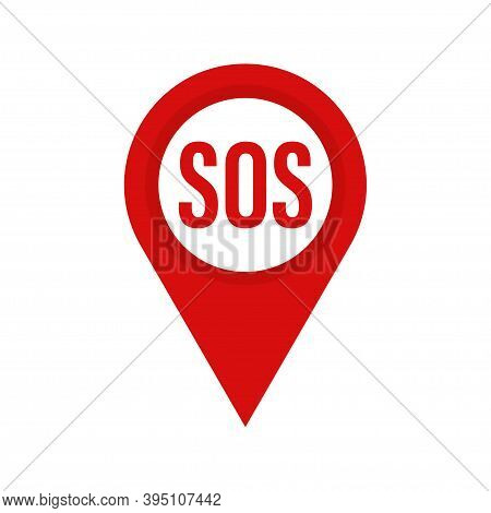 Marker Location With Sos . Red Mapping With Sos . Vector Icon . Map Pin , Sos Sign . Help Concept.