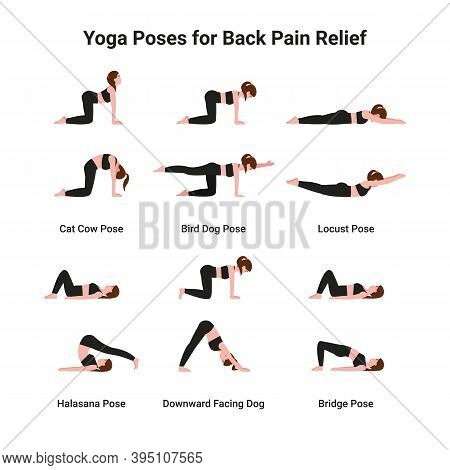 Set Woman Practicing Yoga Poses For Back Pain Relief. Flat Vector Cartoon Illustration.