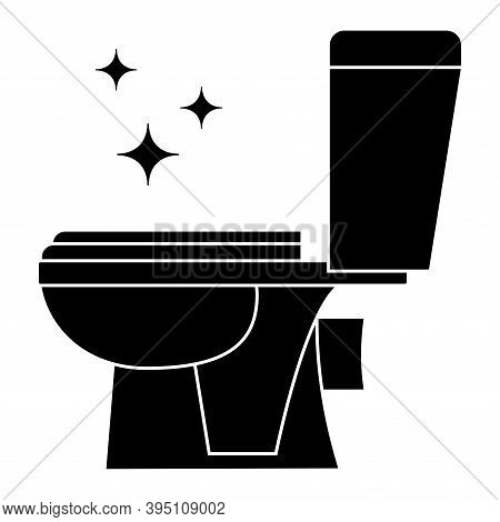 Toilet Cleaning Glyph Icon. Restroom Icon. Wc, Bathroom Toilet In Black Color. Restroom Cleaning Sig
