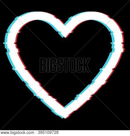 Shape Of Heart In Glitch Effect , Vector Icon . Heart On Black Background In Glitch Effect.