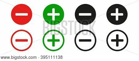 Plus And Minus Sign . Vector Icon On White Background.red And Green Sign . Set , Plus And Minus Sign