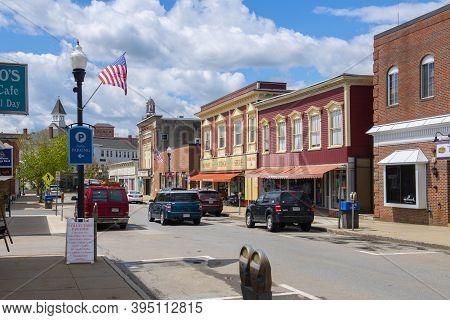 Maynard, Ma, Usa - May 16, 2019: Historic Commercial Building On Nason Street Near Main Street In Ma