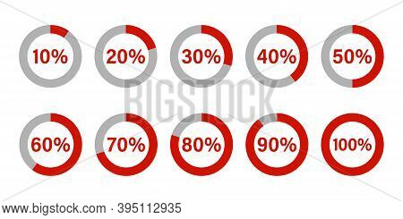 Circle Percentage Diagrams . Set Of Pie Chart . Vector Icon. Red Percentage Chart On White Backgroun