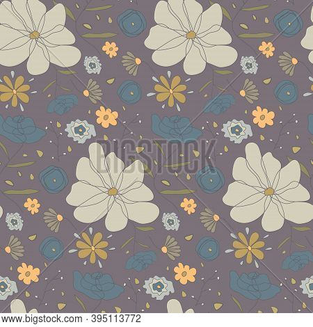 Hand Drawn Seamless Pattern With Cute Sketch Pale Colors Flowers. Ditsy Floral Texture On Dark Backg