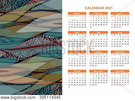 Calendar For 2021 Year With Abstact Wavy Ornament.