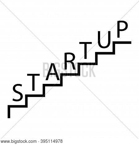 Business Start Up Icon. Startup Word On Steps . Vector Illustration 10eps.