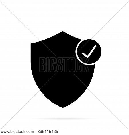 Black Shield With Check Mark On White Background. Vector Illustration. Check Mark Icon.