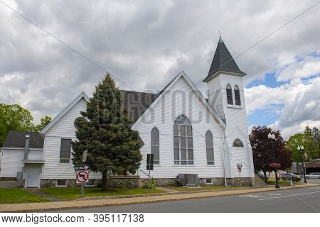 New Hope Fellowship Church On Main Street In Maynard Historic Town Center In Summer, Maynard, Massac