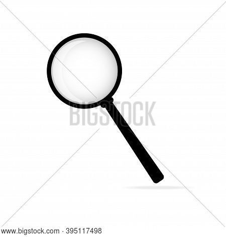 Magnifier Icon. Vector Illustration.white Background. Flat. 10 Eps