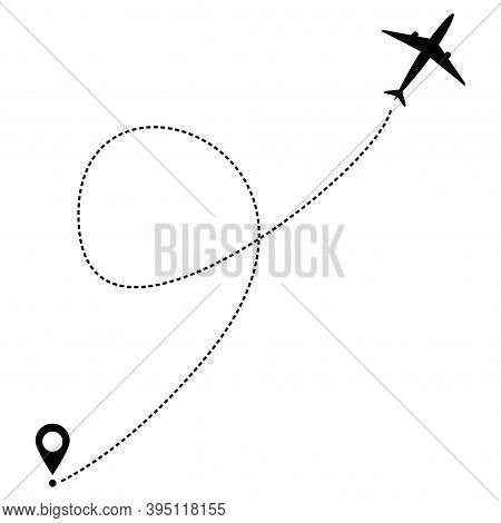 Airplane Line Path.travel Vector Icon. Air Travel.