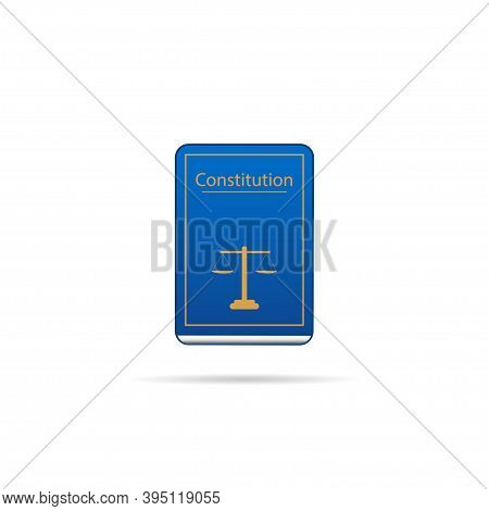 Icon With Constitution Book. Lawyer Office. Criminal Law. Vektor
