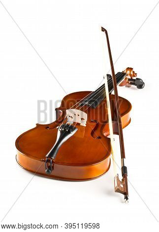 Brown Wooden Fiddle Or Violin, Classic Musical Instrument, With Bow Over White Background, Selective
