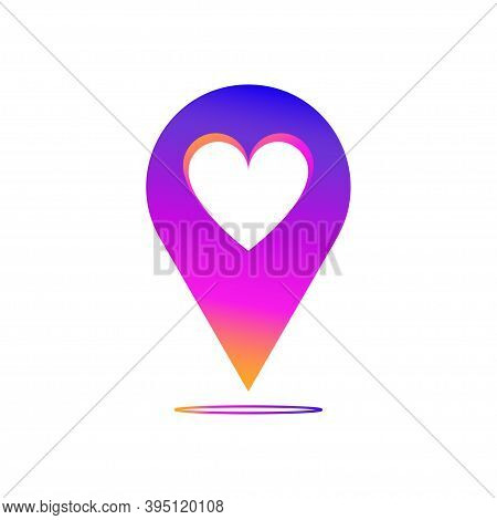 Love Map Pin On White Background. 3d Gradient Map Pin. Map Pin With Heart .
