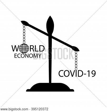 World Economy Icon Corona Virus.economy Down Covid-19.vector.
