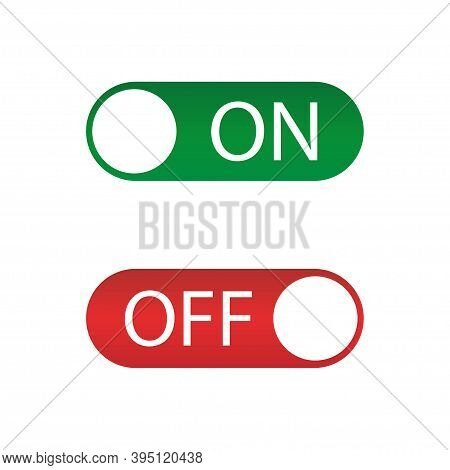 On Off Icon , Red And Green Switch. Vector Illustration.