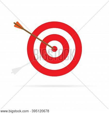 Red Aim , Arrow Icon. Vector Flat Illustration.