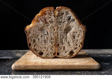 An Airy Crumb Obtained With A Very High Hydration Dough For Sourdough Bread