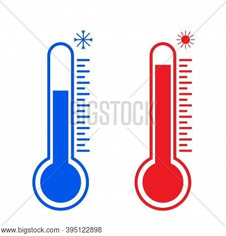 Flat Thermometers Hot And Cold Temperature. Thermometer Vector Icon .