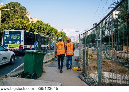 Tel Aviv Israel November 15, 2020 View Of The Construction Site Of The New Light Train Of Tel Aviv I
