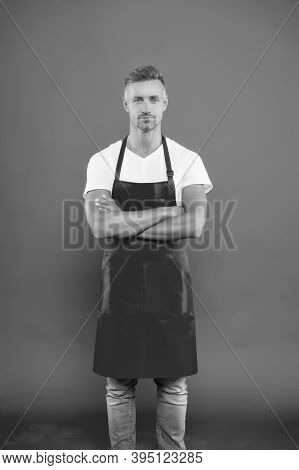 Restaurant Staff. Hipster Professional Apron Uniform. Handsome Barista. Hiring Concept. Barista Work