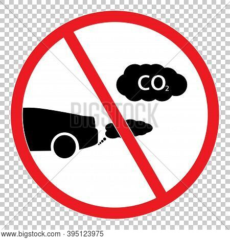 No Co2 Icon. Red Sign Stop Co2.eco Icon.