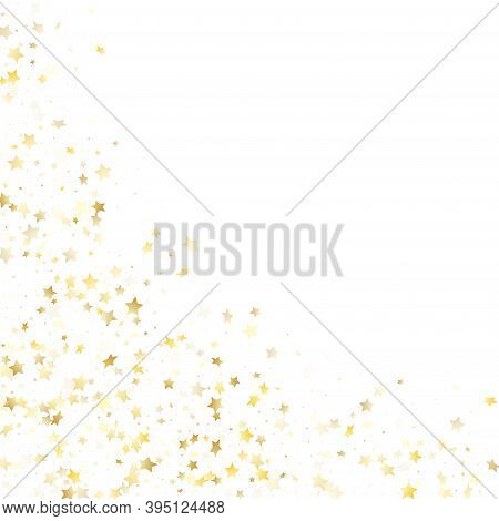 Flying Gold Star Sparkle Vector With White Background. Luxurious Gold Gradient Christmas Sparkles Gl
