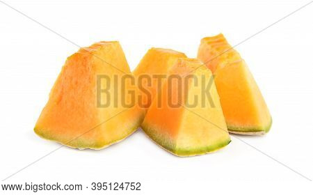 Pieces Of Tasty Fresh Melon Isolated On White