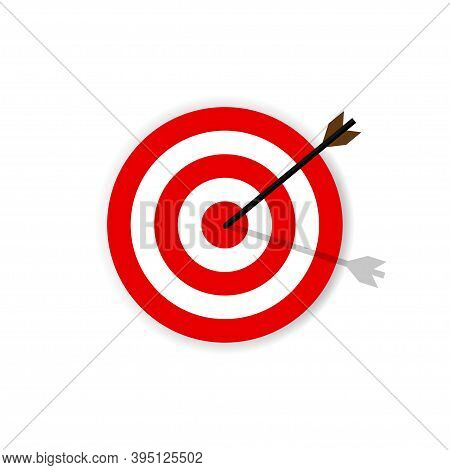 Hit The Target . Flat Target Icon In Red Color And Arrow. Business Illustration .10 Eps.