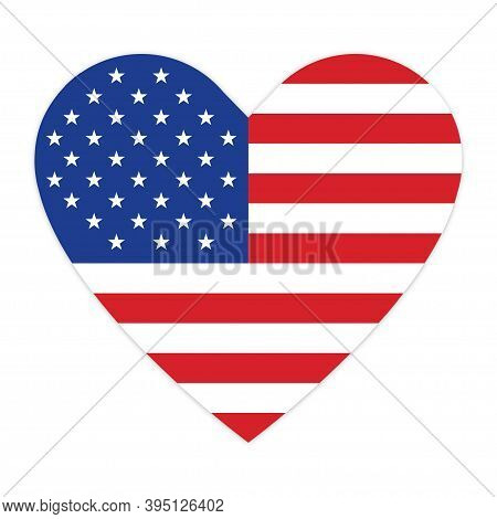 American Flag In Heart On White Background . Vector Icon . Usa Flag. Color Flag Of United Stated .