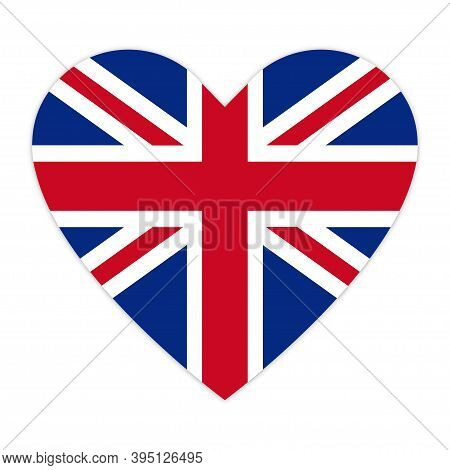 Flag Of Great Britain In Heart. Love London. Flag Of England In The Shape Of A Heart, Vector Icon. W