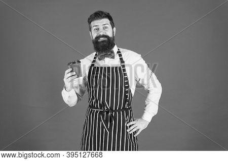 Serving For Your Pleasure. Barista Handsome Worker. Mature Barista. Restaurant Staff. Hipster Profes