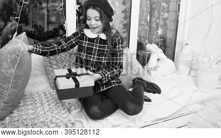 Dreams Come True. Kid At Home Relaxing On Cozy Window Sill. Magic Moment. Happy Winter Holidays. Sma