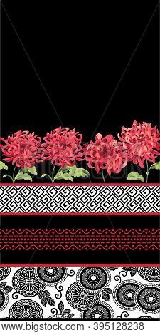 Asian Graphic Border Designs With Red Mums