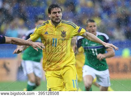 Lyon, France - June 16, 2016: Yevhen Seleznyov Of Ukraine In Action During The Uefa Euro 2016 Game A