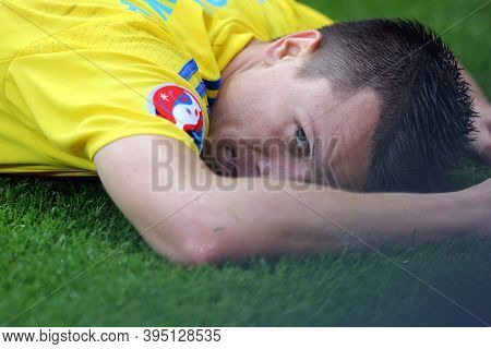 Lyon, France - June 16, 2016: Yevhen Konoplyanka Of Ukraine Lies On A Pitch During The Uefa Euro 201