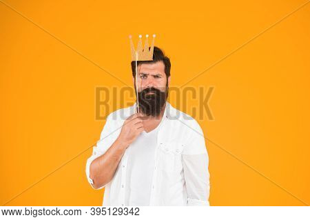 Photo Booth Fun. Bearded Man King Costume Party. Handsome Bearded Guy King. King Of Party. Costume P