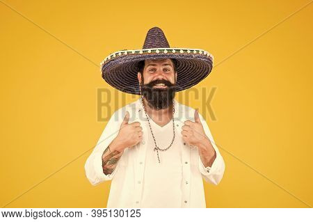 National Holiday. Celebrating Fiesta. Happy Man In Mexican Sombrero Hat. Mexican Energetic Temper. C