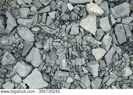Crushed Stone. Gravel Texture Or Gravel Background. Closeup Pile Of Crushed Gravel Texture