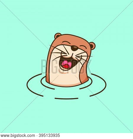 Happy Laughing Cute Otter Logo Design Symbol Illustration