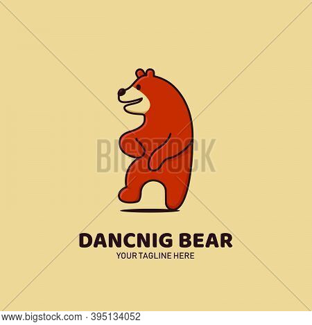 Brown Grizzly Happy Dancing Bear Logo Icon Mascot Character Illustration