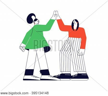 Friendship And Expression Joy With A Gesture High Five Together. Two Girls Giving A High Five For Gr
