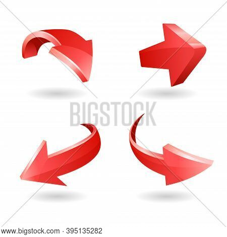 Vector Illustration Of 3d Shapes Of Arrows. Suitable For Design Elements From Infographics, Goal Pla