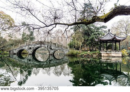 The Beautiful Landscape Scenery Of Xihu West Lake And Pavilion In Winter At Hangzhou China.