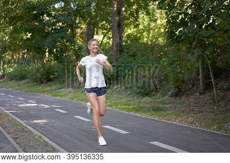 Woman Running Asphalt Road Summer Park Active Sporty Caucasian Female Morning Workout Healthy Lifest